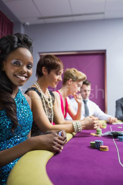 Mutlu kadın poker oyun kumarhane Stok fotoğraf © wavebreak_media