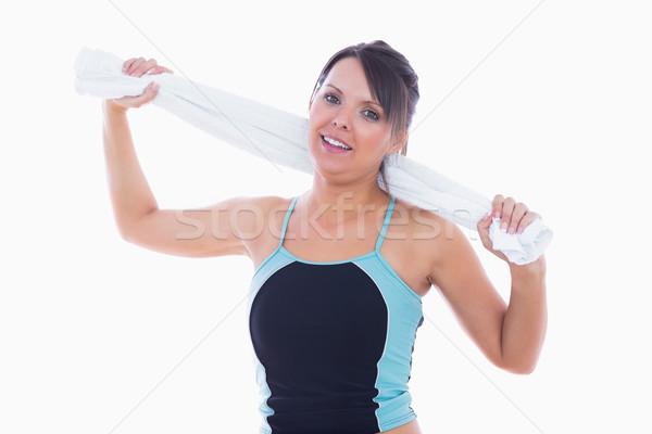 Portré nő sportruha tart törölköző körül Stock fotó © wavebreak_media