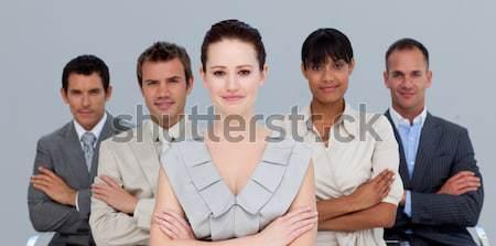 Karizmatikus üzleti csapat mosolyog Föld illusztráció mögött Stock fotó © wavebreak_media