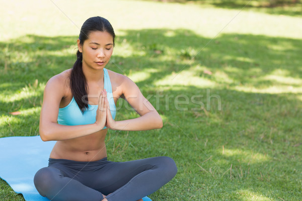Woman in Namaste position with eyes closed at park Stock photo © wavebreak_media