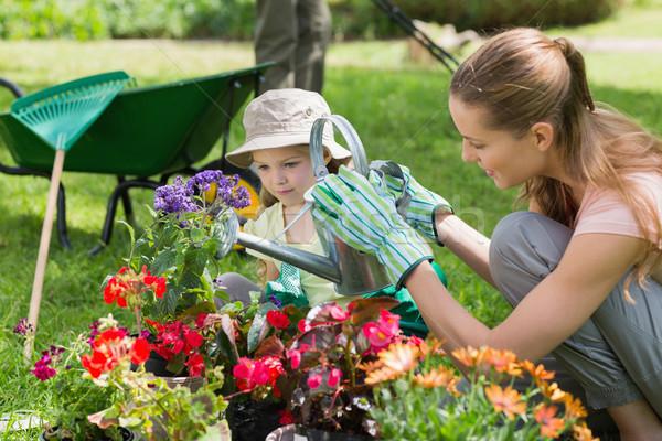 Mother and daughter watering plants at garden Stock photo © wavebreak_media