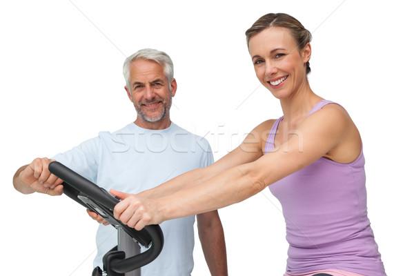 Portré boldog nő mozdulatlan bicikli edző Stock fotó © wavebreak_media