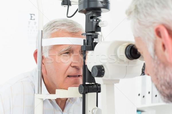 Optometrista vista teste senior paciente Foto stock © wavebreak_media