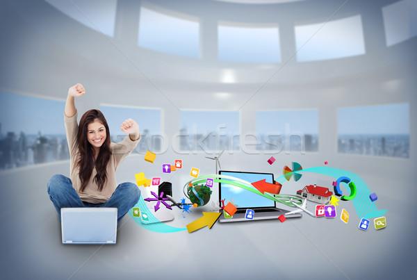 Menina usando laptop aplicativo ícones composição digital Foto stock © wavebreak_media