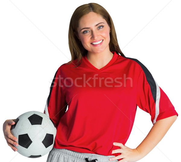 Bastante fútbol ventilador sonriendo cámara blanco Foto stock © wavebreak_media