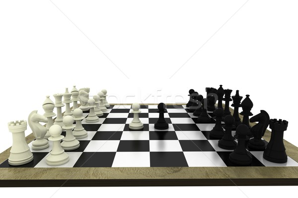 Black and white chess pieces on board Stock photo © wavebreak_media