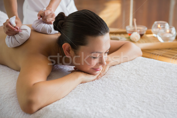 Inhoud brunette genieten massage spa Stockfoto © wavebreak_media