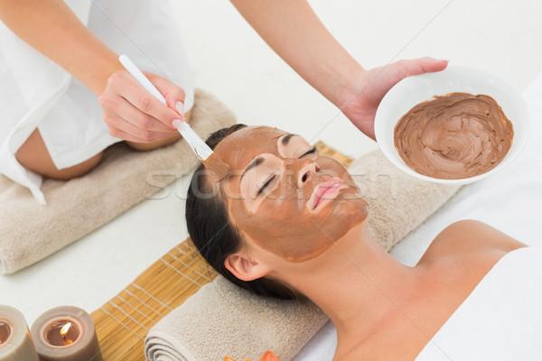 Békés barna hajú sár kezelés gyógyfürdő nő Stock fotó © wavebreak_media