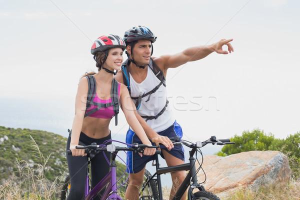спортивный пару Горный велосипед портрет человека счастливым Сток-фото © wavebreak_media