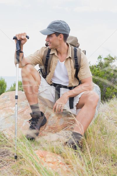 Stock fotó: Kirándulás · férfi · ül · hegy · terep · portré