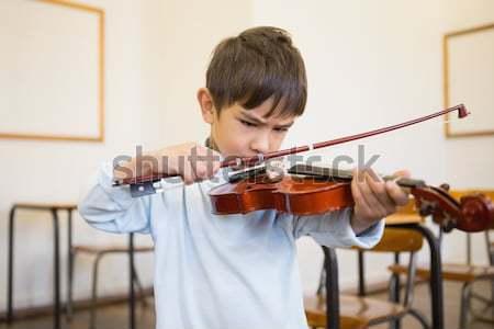 Stock fotó: Aranyos · játszik · hegedű · osztályterem · általános · iskola · zene