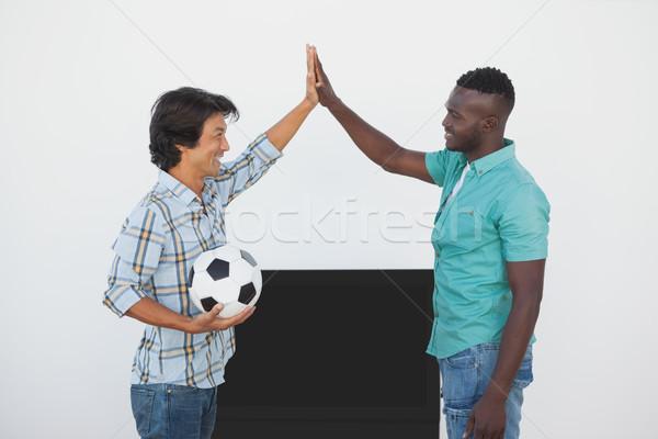 Futball szurkolók magas néz tv oldalnézet Stock fotó © wavebreak_media