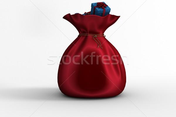 Zsák tele ajándékok fehér piros digitális Stock fotó © wavebreak_media