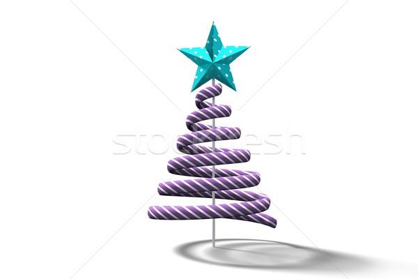 Mor noel ağacı spiral dizayn beyaz Stok fotoğraf © wavebreak_media