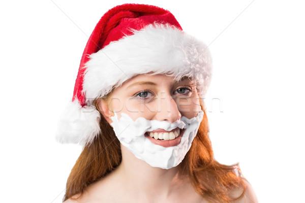Festive redhead in foam beard Stock photo © wavebreak_media