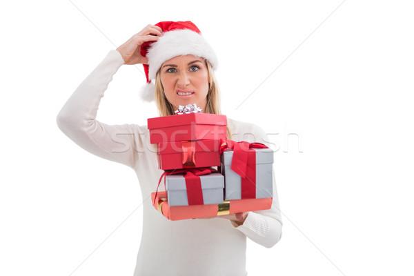 Verward blond hoed geschenken Stockfoto © wavebreak_media