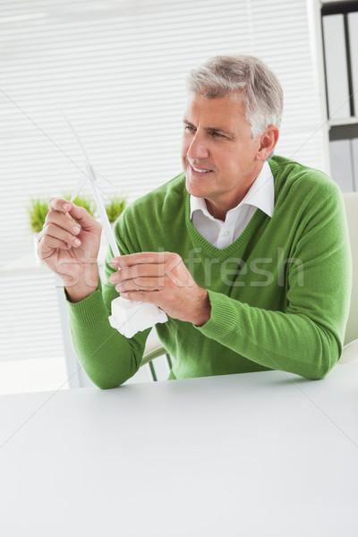 カジュアル ビジネスマン 見える モデル 風力タービン オフィス ストックフォト © wavebreak_media