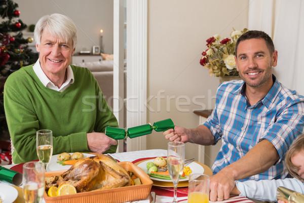 Mosolyog nagyapa apa húz karácsony otthon Stock fotó © wavebreak_media