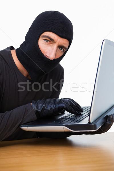 Betörő gépel laptop néz kamera fehér Stock fotó © wavebreak_media