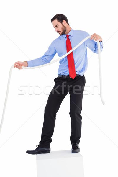 Odaklı işadamı halat beyaz adam Stok fotoğraf © wavebreak_media