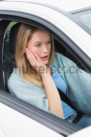 Mosolygó nő vezetés autó iszik kávé utazás Stock fotó © wavebreak_media