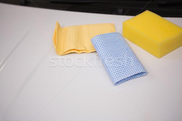 Sponge and rag on a car Stock photo © wavebreak_media