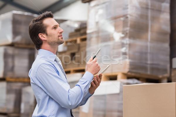 Magazijn manager inventaris man zakenman industrie Stockfoto © wavebreak_media