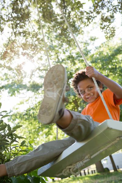 счастливым мало мальчика Swing парка Сток-фото © wavebreak_media