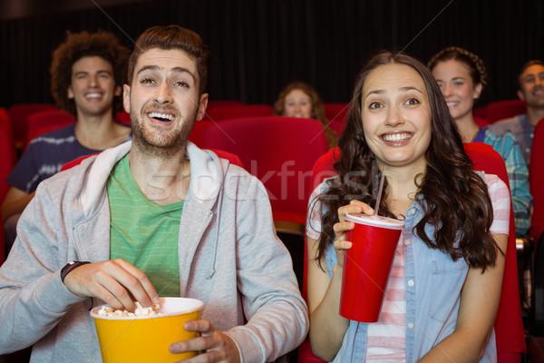 Fiatal pér néz film mozi nő boldog Stock fotó © wavebreak_media