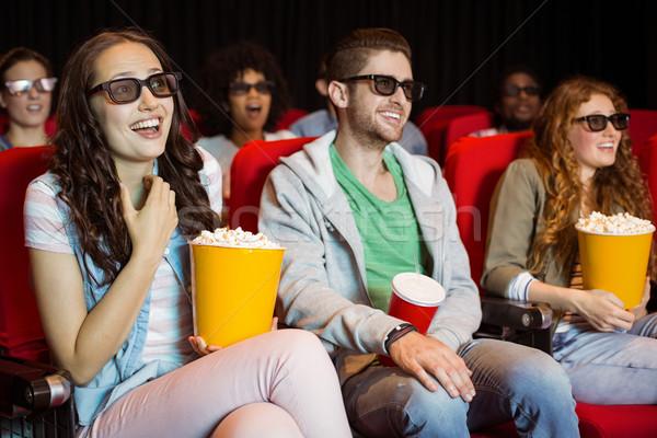 Fiatal barátok néz 3D film mozi Stock fotó © wavebreak_media