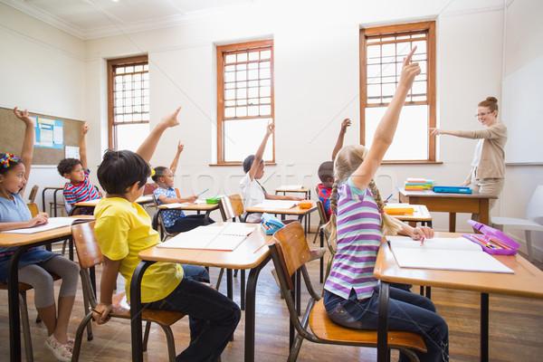 Uczniowie strony klasie szkoła podstawowa kobieta dziewczyna Zdjęcia stock © wavebreak_media