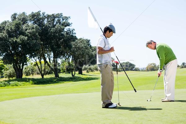 Stockfoto: Golfer · gat · vlag · vriend · bal