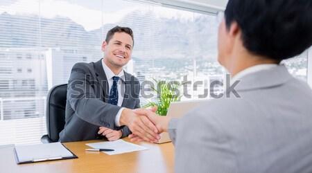 Inválido empresário trabalhando parceiro escritório computador Foto stock © wavebreak_media