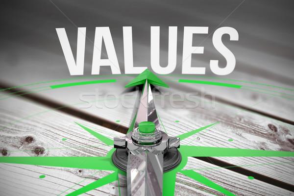 Stock fotó: értékek · digitálisan · generált · szürke · fából · készült · deszkák
