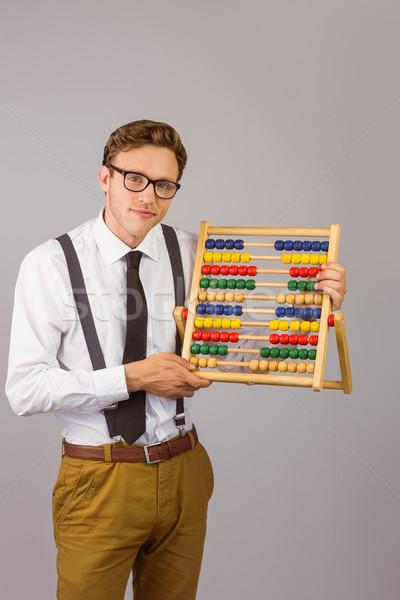 Сток-фото: бизнесмен · счеты · серый · бизнеса · человека · счастливым