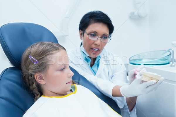 Dentist teaching girl how to brush teeth Stock photo © wavebreak_media
