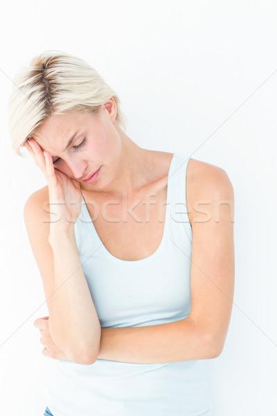 Depressief blonde vrouw hand tempel witte huid Stockfoto © wavebreak_media