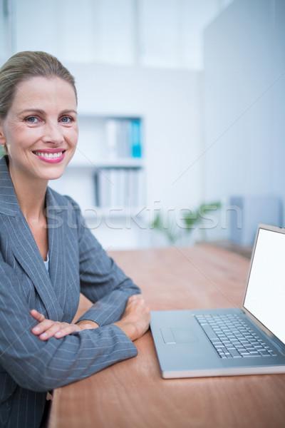 Sonriendo mujer de negocios portátil retrato ordenador feliz Foto stock © wavebreak_media