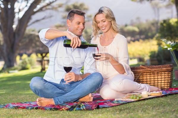 Sorridente casal sessão toalha de piquenique vinho Foto stock © wavebreak_media