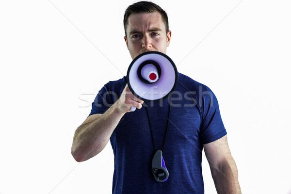 Masculina entrenador megáfono retrato de trabajo Foto stock © wavebreak_media
