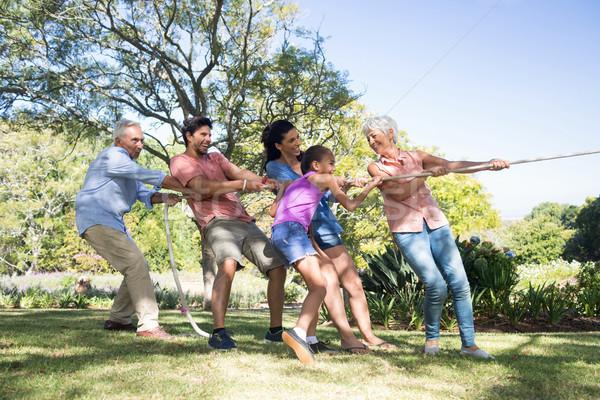 Family playing tug of war in the park Stock photo © wavebreak_media