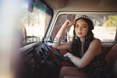 портрет улыбаясь сидят Motor домой Сток-фото © wavebreak_media