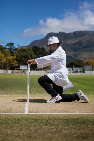 Cricket umpire putting bails on stumps at field Stock photo © wavebreak_media