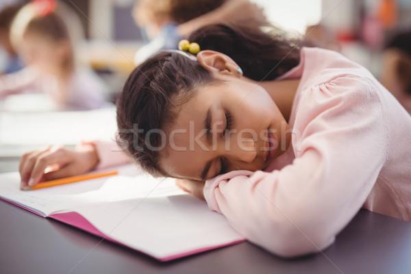 Moe schoolmeisje slapen klas school vrouw Stockfoto © wavebreak_media