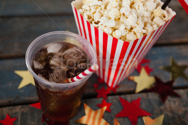 Stock photo: Close-up of popcorn and cold drink