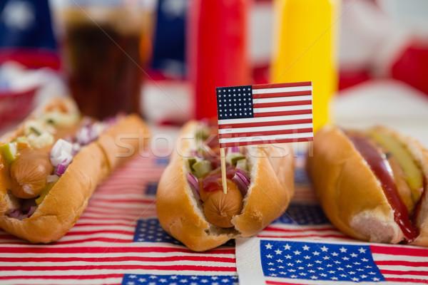 американский флаг горячей собаки деревянный стол продовольствие Сток-фото © wavebreak_media