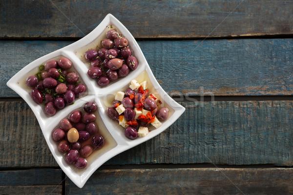 Pickled olives in platter Stock photo © wavebreak_media