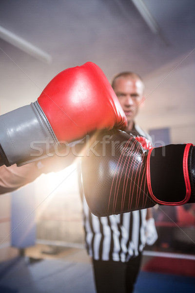 Közelkép boxeralsó döntőbíró fitnessz stúdió kéz Stock fotó © wavebreak_media