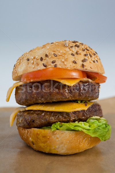 Stock photo: Close-up of hamburger on brown paper