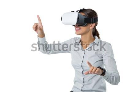 женщины исполнительного виртуальный реальность гарнитура белый Сток-фото © wavebreak_media